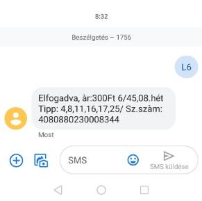 6-os lottó feladása smsben